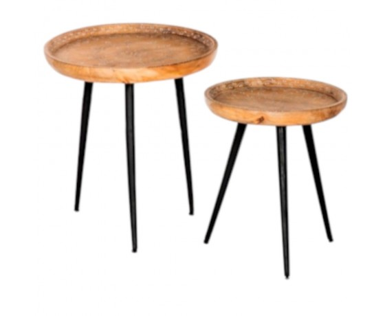 Wooden Round Side Tables