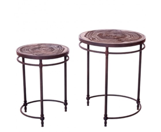 Circular Patterned Side Tables