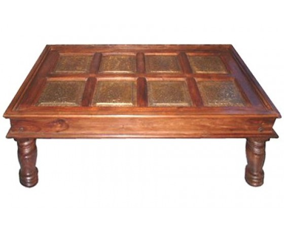 Wooden Brass Coffee Table