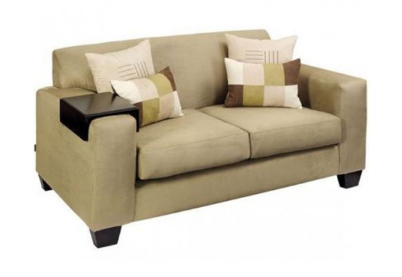 Contemporary settee with wide squared arms
